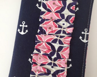 Journal Cover - purse size - anchors - navy and pink