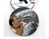 Star Trek Aliens (#2) Bottle Opener 2.25 Inch Mylar Button with Split Key ring Gorn and Captain Kirk, Lokai, Bele, The Salt Vampire