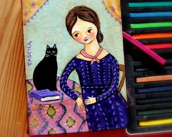 Emily Dickinson Portrait painting on canvas ORIGINAL Black Cat folk art portrait by Tascha Canadian Artist