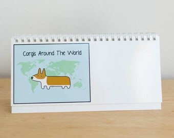 Corgis Around the World - Desk Calendar 2017