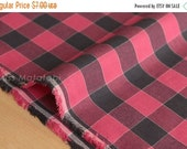 Japanese Fabric yarn dyed gingham check - black, red - 50cm
