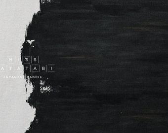 Japanese Fabric Painted Border - black, charcoal, grey - 50cm