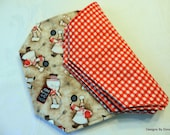 One or More Quilted Reversible Placemats, Moustached Chefs and Red & white Gingham, Handmade Table Linens