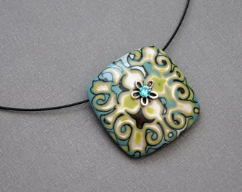 Modern Jewelry Statement Art pendant necklace Choker Abstract Square Neck wire Colorful Mokume Gane Polymer clay Green Teal Botanical