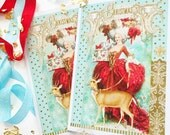 Marie Antoinette, Christmas card, deer, reindeer, card for her, card for girlfriend, Rococo, French, woodland, holiday card, red, aqua, gold