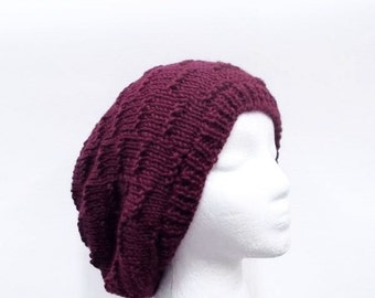 Slouchy hat berry color hand knitted oversized beanie 5257
