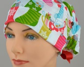 Scrub Hats // Scrub Caps // Scrub Hats for Women // The Hat Cottage // Large // Ribbon Ties // Christmas Stockings