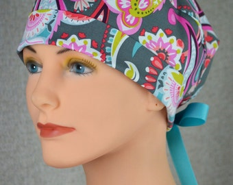 Surgical Scrub Hat or Chemo Cap- The Mini with Ribbon Ties- Gray Paisley