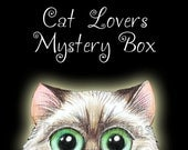 Cat Themed MYSTERY BOX - Blind bag of Cat Art, Gifts and Goodies for Cat Lovers.  Great gift for cat lovers.