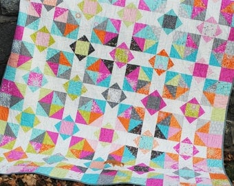 Patchwork Quilt Pattern, using Layer Cakes or Fat Quarters. Baby, Lap and Twin Sizes, Mountain Reflections