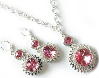 Industrial Crystal Jewelry Set, Necklace and Earrings, Rose Swarovski Crystals, Gears, Spirals, Spiros, Two Piece Set, Beaded Jewelry,