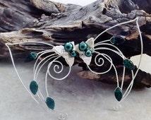 ON SALE Emerald Elf Ear Cuff Wraps Pair or Single, Bridal Ear Cuff, Fairytale Irish Wedding