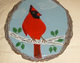 Original handpainting of a Northern Red Cardinal  signed and dated