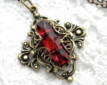 Dark Ruby Rose Vintage Glass Jewel Pendant - Antiqued Brass Victorian Style Pendant