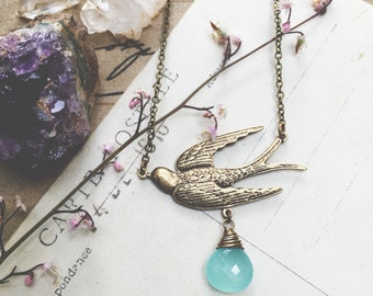A s c e n d...Chalcedony necklace, Labradorite, brass swallow bird, boho, Throat Chakra, layering necklace, Etsy Gifts for Her FREE SHIPPING