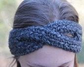 Grey Knitted Headband Ear Warmer