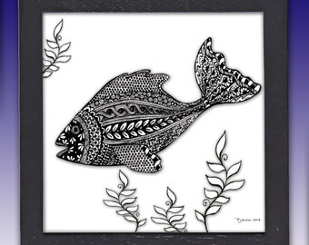 Framed Fish Pen and Ink Print