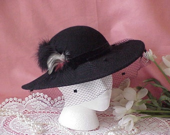 Vintage Women's Black Wool Victorian Style Steampunk Riding Hat Feathers Veil
