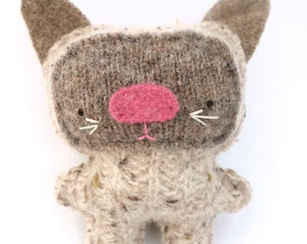 Siamese Cat - Recycled Wool Sweater Plush Toy