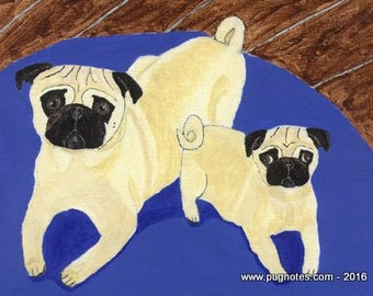Pug Note Cards -  The Baby Sitter - Fawn Pug and Puppy