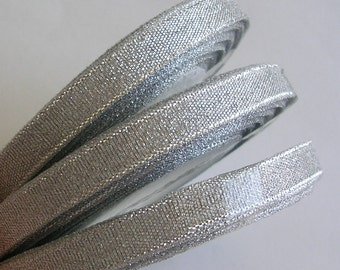 "Organza Ribbon (R111A) 3/8"" Silver Metallic Shimmer Ribbon- 25 yard spool //Crafts DIY Wedding Streamers Dreamcatchers Bows Party Decor"