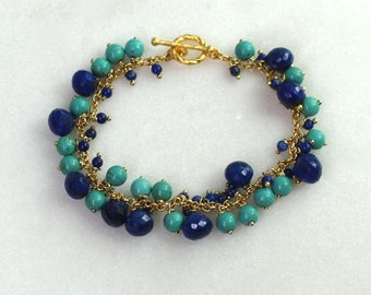 Chic Lapis, MexicanTurquoise Bauble Bracelet in 14kg fill...