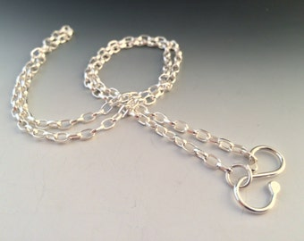 "23 Inch Sterling Silver 3.2mm Oval Rolo Chain with Handmade ""S"" Hook Closure"