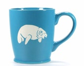Manatee Mug - Sky Blue - large ceramic sea cow coffee cup
