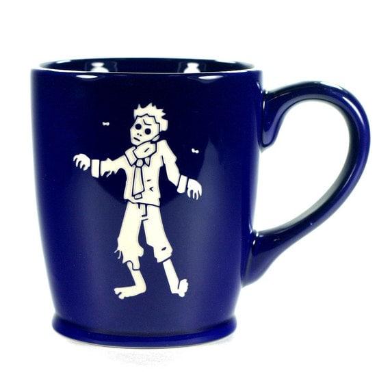 Zombie Mug Navy Blue ceramic coffee cup by BreadandBadger