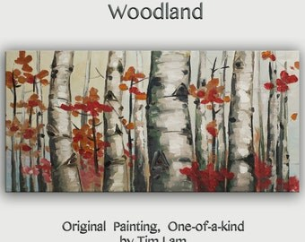 Original abstract tree art oil painting Aspen forest on gallery wrap canvas Ready to hang by tim Lam 48x24