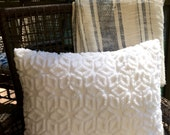 Vintage Chenille Pillow Lumbar Bolster - Solid White - Hoffman Daisy - Cottage Chic