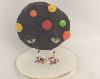 Chocolate  m and m cookie Ooak   art doll