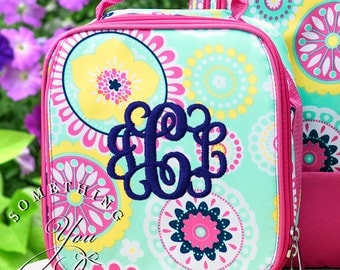 Monogrammed Lunchbox in Piper Medallion Pattern, Girls School Lunchbox, Personalized Insulated Girls Lunchbox
