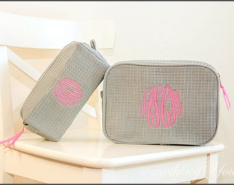 Personalized Cosmetic Bag Gift Set of 1 Large and 1 Small Size Bags- Monogrammed Gray Makeup bags, bridesmaids cosmetic, monogram toiletries