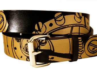 Gears and Cogs Leather Belt