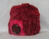 Red Purple Pink Knit Hat Felt Button