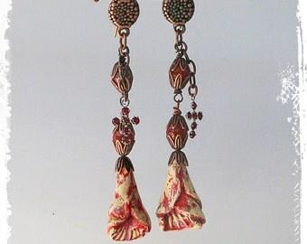 Artisan dangle earrings, Rustic floral earrings, Boho earrings for women, Assemblage, Mexican folk art earrings, Polymer clay earrings