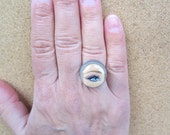 Barbie Eye- upcycled Barbie adjustable ring- right