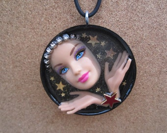 Catch a Falling Star - upcycled Barbie doll pendant