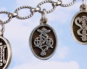 PETITE MEDAL - VOODOO - Marie Laveau Veve Charm Pendant in Sterling Silver, Bronze, 14K Gold