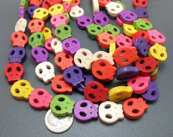 26 Mixed Color Howlite Skull Beads 15x13MM (H7060)