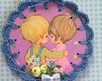 Sweet Couple Hugs - Recycled Vintage Book Illustration - Crochet Ornament / Bookmark / Card / Tag