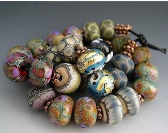 SALE Naos Glass - One of Each Bead Pair Mega Set 28 beads - Made To Order Artisan Glass Beads Handmade Lampwork Beads SRA