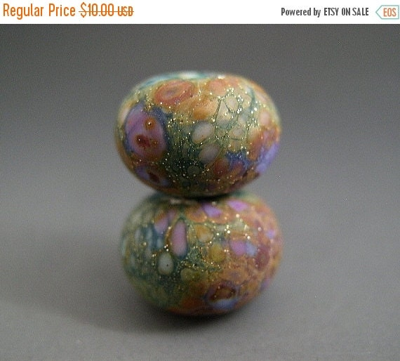 BIG SALE Naos Glass Lily Pad Gardens Pair Made To Order Handmade Lampwork Beads SRA Artisan Glass Beads Teal Rust Tones Lilac Lavender