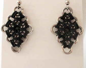 Chainmaille Diamond Earrings