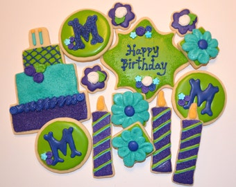 BIRTHDAY PARTY THEME assorted decorated cookies.  Cake, frame, monogram, flowers, candles. Your choice of color & details.