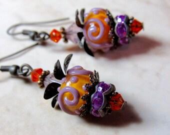 Orange and Purple Passion Lampwork Brass Earrings