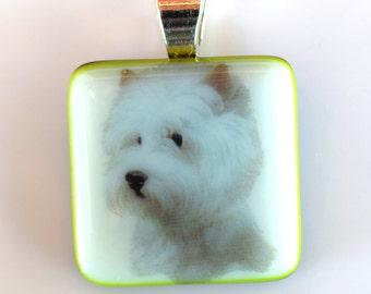 Westie Dog  Pendant - Fused Glass Pendant - West Highland Terrier Pendant - Dog Pendant - Melted Glass Pendant -