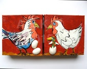 Chicken Painting - Rooster Painting - Hen Painting - Set of 2 Small Original Paintings  - Chicken Art - Rooster Art - Chicken Gift
