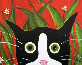 Cat Cards - Tuxedo Cat Art - Funny Blank Cards - Silent Mylo Tuxedo Cat in the Weeds - Cat Art